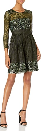 French Connection Womens Molly Lace Rdnk Long Sleeve Dress, Brown (Khaki), 10