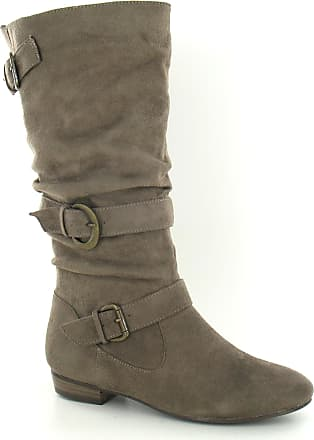 Spot On Box No Insock Low Heel Rouched Buckle Strap Calf Boot (Taupe, Size 4 UK)