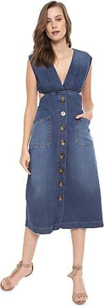 Colcci Vestido Jeans Colcci Midi Botões Azul