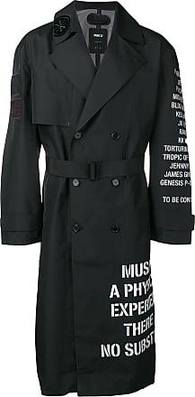 Yang Li Trench Coat com estampa de frases - Preto