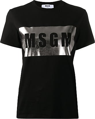 Msgm metallic box logo T-shirt - Black