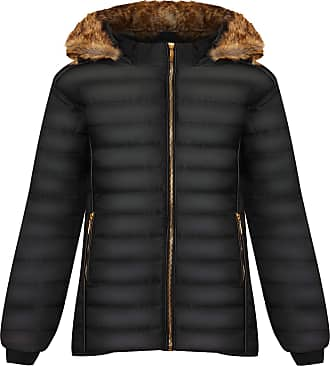 WearAll Womens Plus Long Sleeve Faux Fur Collar Hood Puffa Jacket Ladies Coat Zip Pocket - Black - 22-24