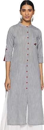 Indigo Womens Cotton Straight Kurta (SS19/IND-501_ Mid Grey_ S)
