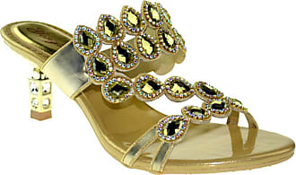 Find Nice GZM-T001 Womens Fashion Wedding Bride Rhinestone Mid Heel Slip on Sandals Gold UK 6.5