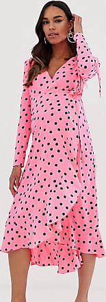 Queen Bee Maternity wrap front ruffle midi dress in neon polka print-Multi