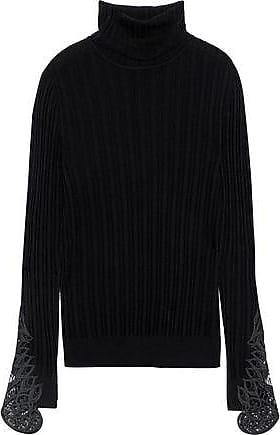 Elie Tahari Elie Tahari Woman Pointelle-knit Merino Wool Turtleneck Sweater Black Size L