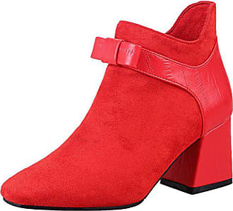 a4d2492ea14b1f Aiyoumei Damen Stiefeletten mit Schleife und 6cm Absatz High Blockabsatz  High Heel Kurzschaft Stiefel