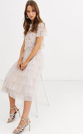 Needle & Thread tiered ruffle ballerina skirt in blush-Pink