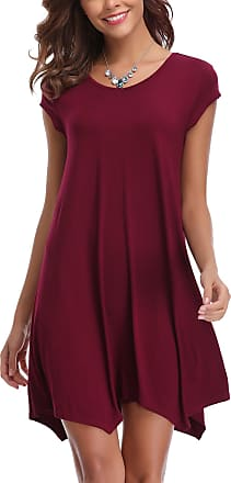 Abollria Womens Plain Short Sleeve Scoop Neck Loose Fit and Flare Casual Summer Mini Dress Wine Red