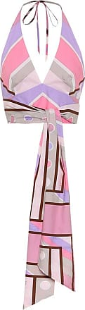 Emilio Pucci Printed stretch-cotton halter-neck top