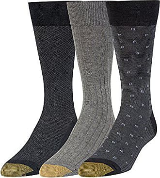 Gold Toe Mens Big and Tall Dress Crew Socks, 3 Pairs, black/charcoal, Shoe Size: 12-16