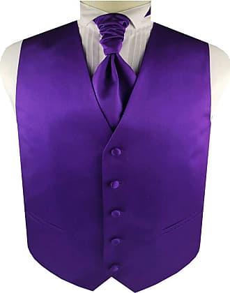 Generic Mens Solid Plain Suit Wedding Waistcoat&Cravat and Pocket Square (Purple, XL)