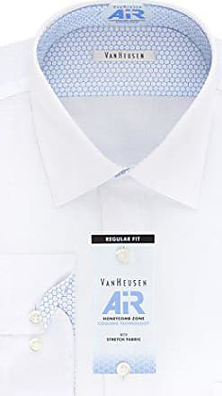 Van Heusen Mens Air Regular Fit Solid Spread Collar Dress Shirt, White, 15.5 Neck 32-33 Sleeve