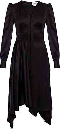 Alexander McQueen Asymmetrical Long Sleeve Dress Womens Black