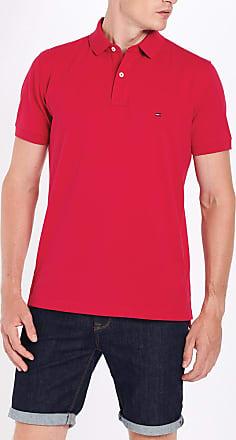 Polo Tommy Hilfiger en coton rouge à col contrastant tricolore   Rue Des Hommes