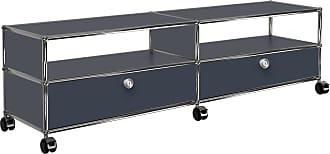 USM TV/Hi-Fi Sideboard mit 2 Schubladen unten - anthrazitgrau RAL 7016/152x37x43cm/mit Rollen