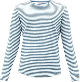 Orlebar Brown Ob-t Cotton-blend Long-sleeved T-shirt - Mens - Blue White