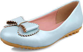 Mediffen Mocasions Women Comfort Casual Flats Round Toe Dolly Shoes Bowtie Slip On Classic Female Boat Shoes Flat Walking Driving Shoes Blue Size 43 Asian