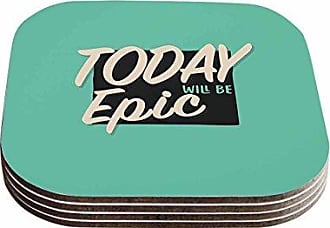 KESS InHouse Juan PaoloEpic Day Vintage Teal Coasters (Set of 4), 4 x 4, Multicolor
