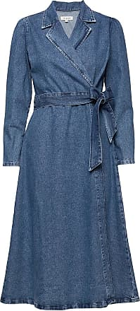 Selected Slfharper Ls Fray Blue Denim Dress W Knälång Klänning Blå Selected Femme
