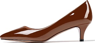 EDEFS Womens Pointed Toe Mid Heel Court Shoes Slip On Classic Office Dress Pumps Brown EU43