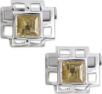 Novica Citrine cufflinks, Sun Tower - Collectible Mens Sterling Silver Citrine Cufflinks