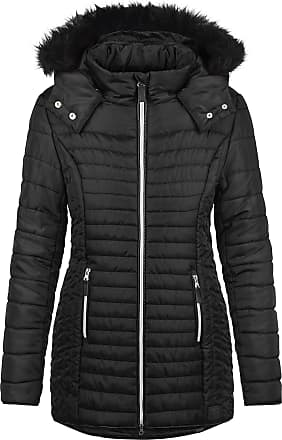 Blend Sabia Womens Quilted Coat Parka Outdoor Jacket with Fur Hood with Hood, Size:M, Colour:Black (20100)