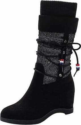 RAZAMAZA Women Classic Wedge Heels Mid High Boots Knit Pull on Mid Calf Boots Bowknot Autumn Slouch Boots Black Size 39 Asian
