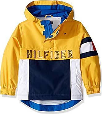 Tommy Hilfiger Boys Adaptive Hooded Popover Jacket with Extended Zipper Pull, Lemon Chrome-Print LG