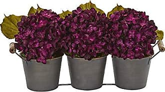 Nearly Natural 1887-PP Fall Hydrangea Artificial Metal Planter Silk Arrangements Purple