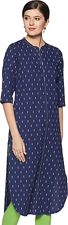 Aurelia Womens Cotton Straight Kurta (19FEA10490-700255_ Blue_ Large)