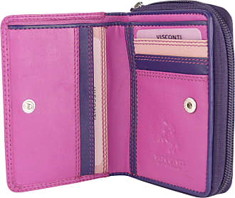 Visconti Ladies Compact Leather Purse/Wallet Gift Boxed Bright Colours (Shades of Pink)