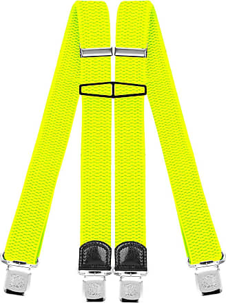 Decalen Mens Braces with Very Strong Clips Heavy Duty Suspenders One Size Fits All Wide Adjustable and Elastic X Style (Yellow Neon)