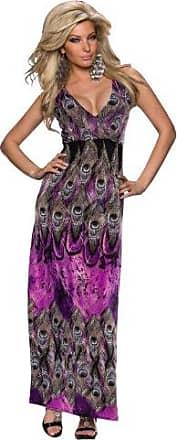 5804 Damen Maxikleid Kleid Sommerkleid Strandkleid Ärmellos Streifen Bodycon