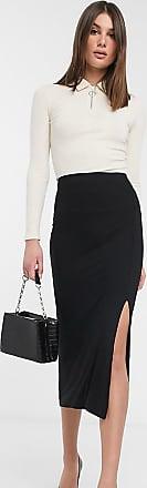 Asos Tall ASOS DESIGN Tall bias cut jersey midi slip skirt with split-Black