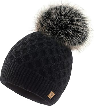 4sold Ladies Chunky Soft Cable Knit Handmade Woman Hat Cosy Fleece Liner and Bobble Faux Fur Pom pom (LORA Black)