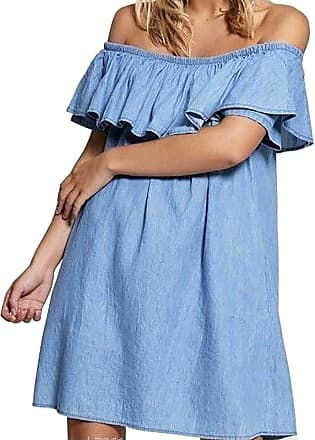 Islander Fashions Womens Denim Jeans Blue Frill Off Shoulder Dress Ladies Bardot Summer Dress Top Light Denim UK 14