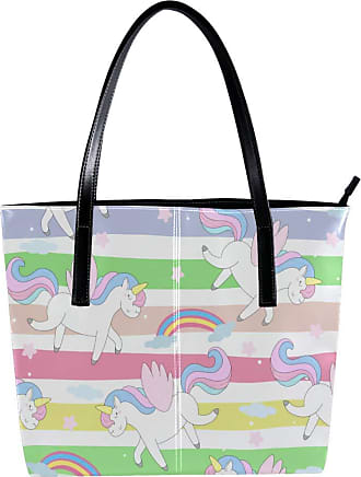 Nananma Womens Bag Shoulder Tote handbag with Unicorn Rainbow Print Zipper Purse PU Leather Top-handle Zip Bags