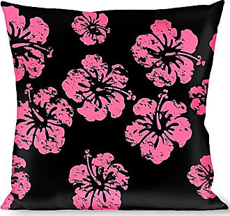 Buckle Down Pillow Decorative Throw Hibiscus Weathered Black Pink