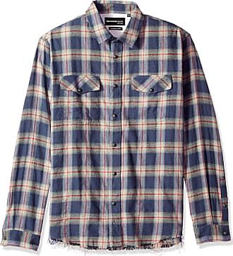 The Kooples Mens Long Sleeve Button-Down Check Shirt, Blue/Black, Large