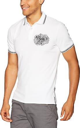 Just Cavalli Mens Graphic Polo Tee Shirt, White, Large