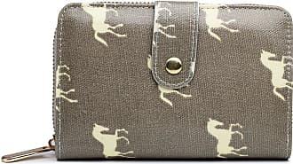 Craze London Women Clutch Long Purse with Zipper Pocket Girls Small Purse Printed Card Holder Coin Wallet (Small Horse Grey)