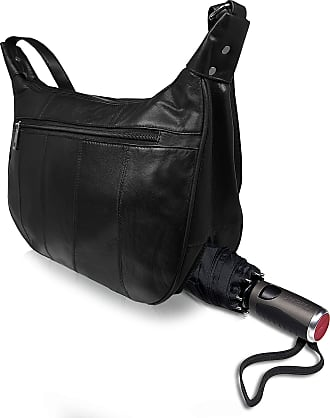 Quenchy London Ladies Soft Leather Handbag, Single Strap A-Cross Body Designer Shoulder Bag with 5 Zipped Pockets, 2 Large Main Sections, Umbrella Compartment QL174