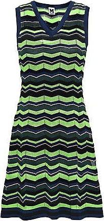 8dcd433ac4f151 M Missoni M Missoni Woman Striped Crochet-knit Mini Dress Lime Green Size 40