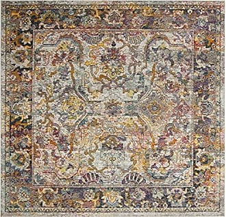 Safavieh CRS504A-7SQ Crystal Collection Area Rug, 7 Square, Light Blue/Orange
