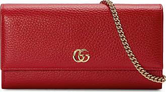 Gucci Carteira GG Marmont de couro com corrente - Vermelho