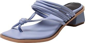 Mediffen Flip Flops Women Clip Toe Block Heels Mule Slippers Slip On Mid Heels Slides Sandals Summer Outdoor Slippers Blue Size 31 Asian