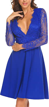 Zeagoo Women Deep V Neck Long Sleeve Lace Patchwork Pleated Mini Wedding Bridesmaid Dress Royal Blue