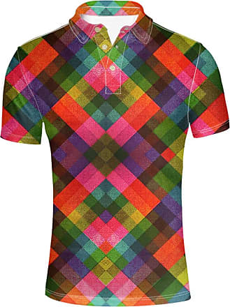 Hugs Idea Colorful Lattice Pattern T-Shirt Classic Button Down Polos Shirt Short Sleeve for Men