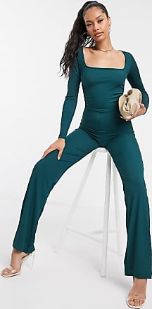 I Saw It First ruched side square neck jumpsuit in green